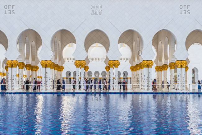 Abu Dhabi, United Arab Emirates - December 27, 2017: Detail of Sheikh Zayed Grand Mosque