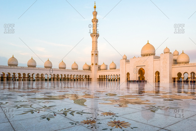 Abu Dhabi, United Arab Emirates - December 27, 2017: The courtyard of Sheikh Zayed Grand Mosque