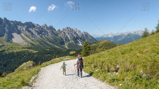 Friuli Venezia Giulia, Italy, Europe - August 19, 2008: Family near the source of the Piave river, Sappada, Dolomites