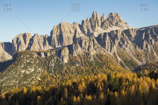 The Croda Da Lago mountain during an autumn afternoon, Dolomites, Cortina d'Ampezzo, Italy