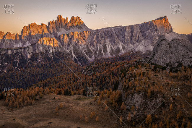 Autumnal sunset in the Croda da Lago peak, Dolomites, Cortina d'Ampezzo, Italy