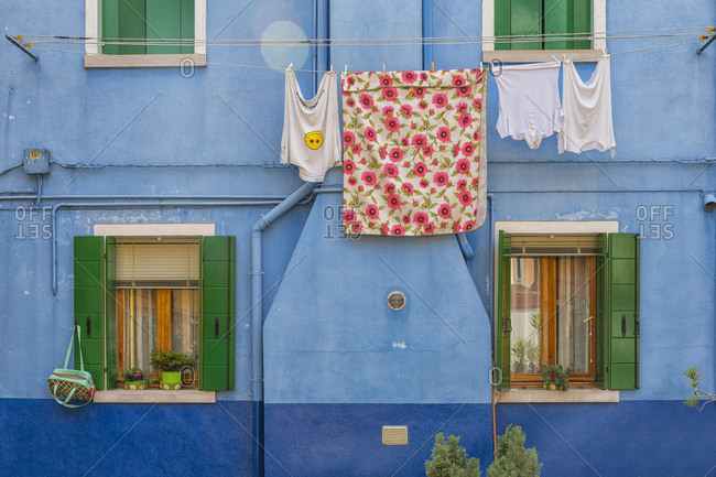 In Burano village every house is painted different color, Venice, Italy