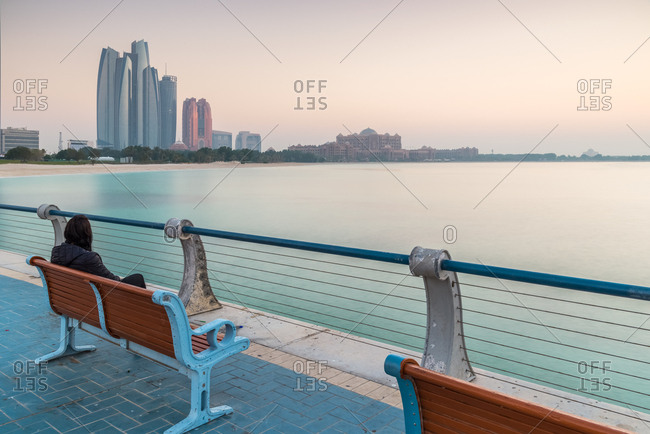 Relax in the promenade of Corniche in Marina Mall, Breakwater Island , Abu Dhabi city, Emirate of Abu Dhabi, United Arab Emirates, UAE