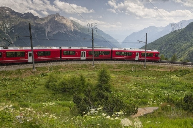 Express train, UNESCO World Heritage, in the Poschiavo valley, rural railways, Engadin, Canton of Grisons, Switzerland, Europe