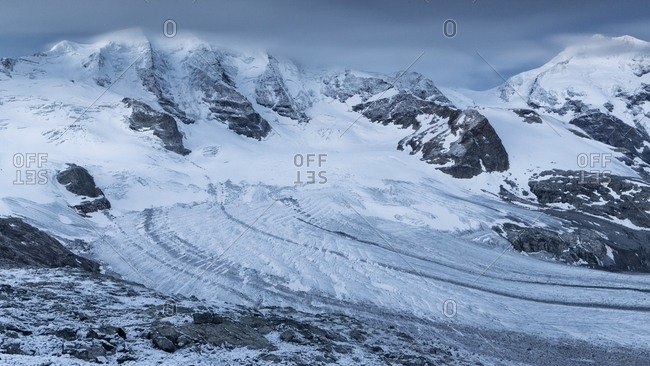 Piz Palu and Piz Bernina with glacier at twilight from of Diavolezza hut, Pontresina, Engadin, Canton of Grisons, Switzerland, Europe