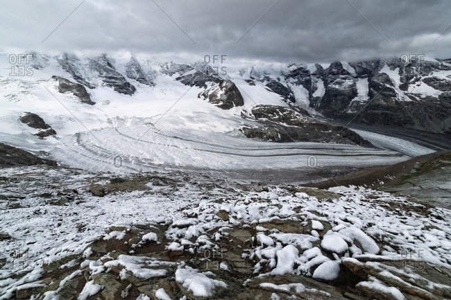 Panoramic view of Bernina mountain range with Morteratsch and Pers glaciers from Diavolezza, Engadin, Canton of Grisons, Switzerland, Europe