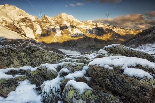 Piz Bernina at sunrise from of Diavolezza hut, Pontresina, Engadin, Canton of Grisons, Switzerland, Europe