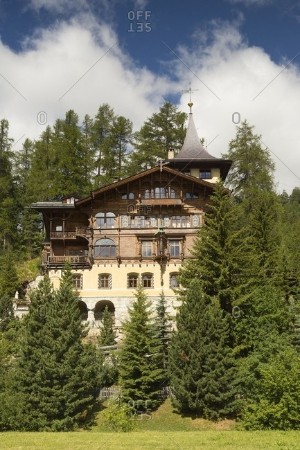 One of the oldest typical house in St. Moritz, Engadine, Canton of Grisons, Switzerland, Europe