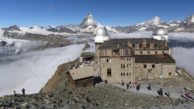 Hotel and the astronomic observatory at the Gornergrat, in the background the Matterhorn or Cervino mount, Zermatt, Valais, Switzerland, Europe