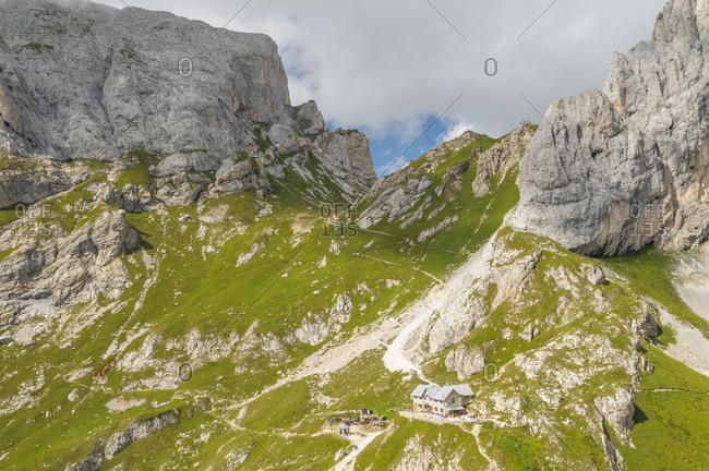 View from above Calvi mountain hut in Sesis valley, Sappada, dolomites, Friuli Venezia Giulia, Italy, Europe