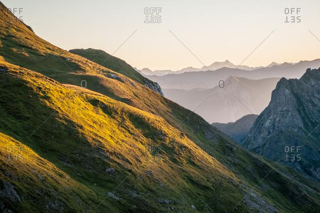 Sunrise at Sesis pass, Sappada, dolomites, Friuli Venezia Giulia, Italy, Europe