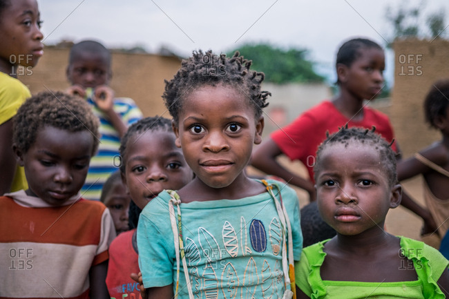 Angola, Africa - April 5, 2018: Group of poor African children in village