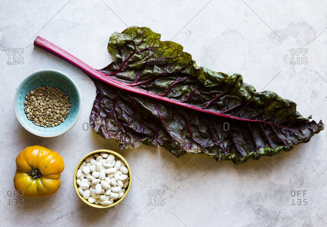 Overhead view of legumes with swiss chard