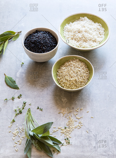 Three bowls of different types of rice