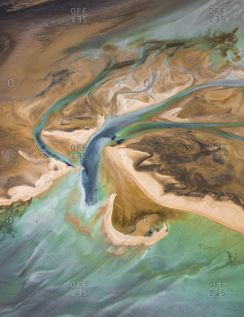 Aerial view of shifting sands of river delta and ocean in Shark Bay, Australia