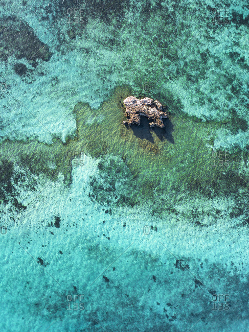 Aerial view of large coral head protruding from clear ocean waters off Exmouth, Australia