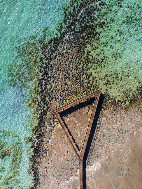 Aerial view of walkway over Stromatolites at Hamelin Pool, Shark Bay, Australia