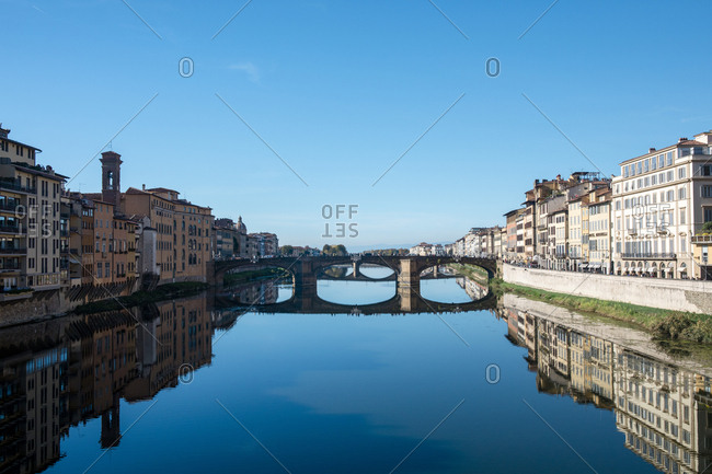 The River Arno running through the city of Florence, Italy