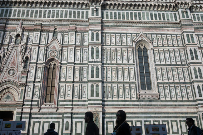 FLORENCE, ITALY - OCTOBER 31: Visitors outside Florence's Cathedral, Basilica di Santa Maria del Fiore, known as Duom