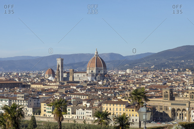A  view of Florence showing Florence's Cathedral, Basilica di Santa Maria del Fiore, known as Duomo in Florence, Italy