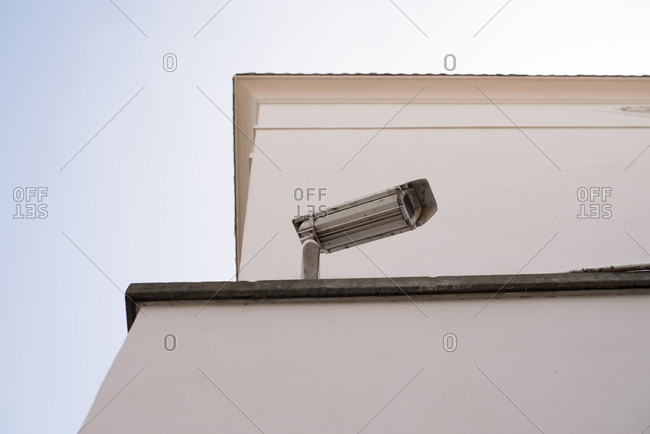Security camera on top of a building