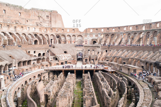 Rome, Italy - April 8, 2018: Interior of the Coliseum in Rome
