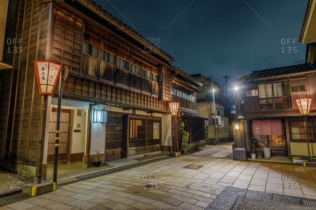 Kanazawa, Japan - March 30, 2018: A view of the historic Higashi Chaya district at night