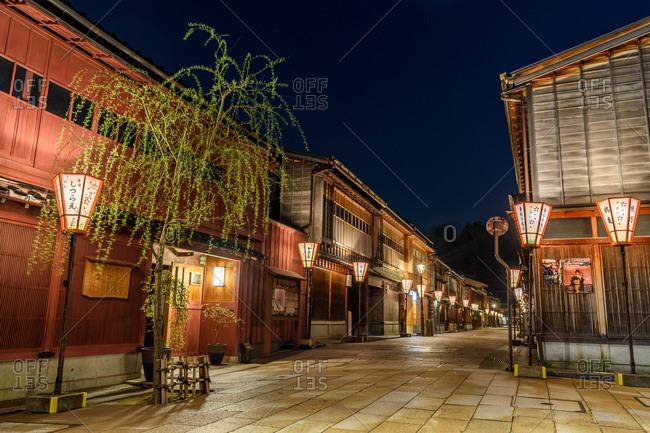 Kanazawa, Japan - March 30, 2018: An empty square in the historic Higashi Chaya district at night