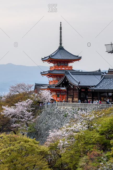 Kyoto, Japan - April 02, 2018: Kiyomizu-dera temple standing on a hill overlooking the city