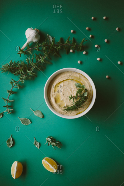 Hummus with herbs and ingredients