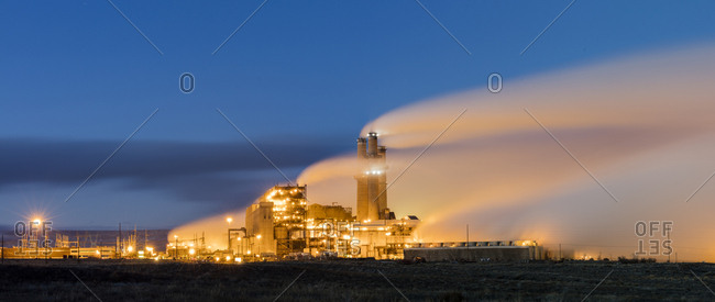 USA, New Mexico, Farmington,  High resolution digital composite image of steam billowing from APS Four Corners Power Plant
