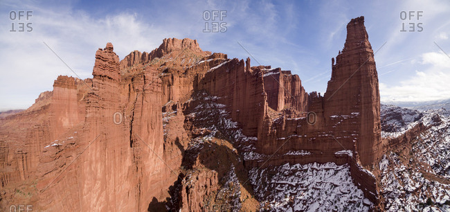 USA, Utah, Moab, Aerial view of cliffs at Fisher Towers on winter afternoon