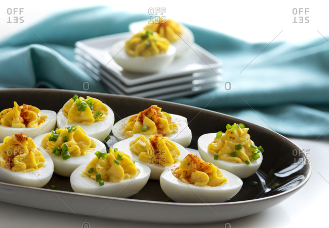 Deviled eggs on an oblong dish