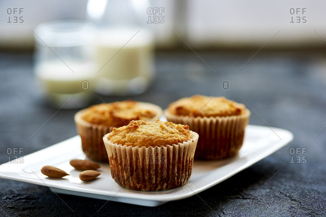 Close up of yogurt muffins and milk