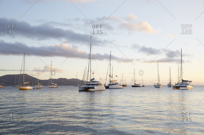 Fort de France, Martinique - January 11, 2016: Group of boats at sunset in Baie de Fort de France, Martinique