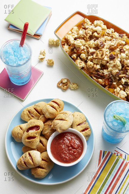 High angle view of children's party snacks