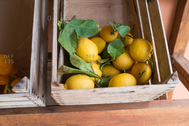 Lemons in crates at a market in Italy