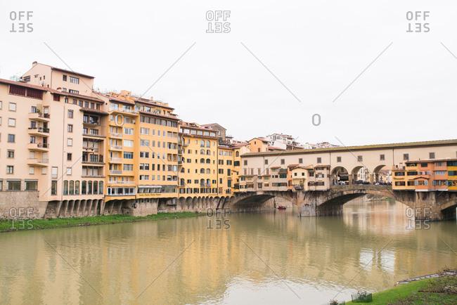 Tuscany, Italy - April 11, 2018: Riverside buildings in Tuscany, Italy