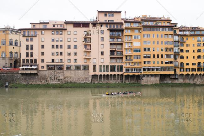 Tuscany, Italy - April 11, 2018: Row team in river in Tuscany, Italy