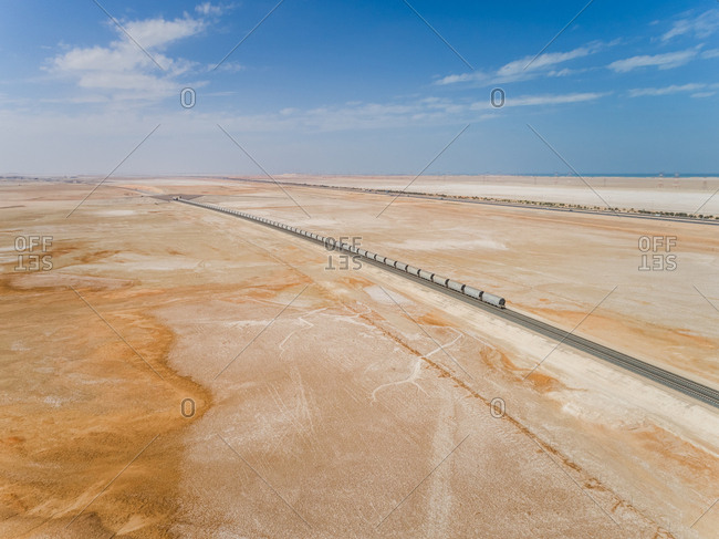 Aerial view of Etihad Rail in the middle of the desert in Abu Dhabi, U.A.E.