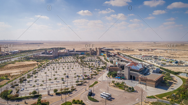 February 2, 2018: Aerial view of a shopping area in the middle of the desert in Dubai, U.A.E.