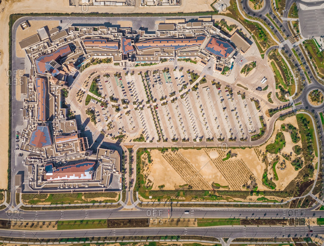 Abstract aerial view of a shopping area in Dubai, U.A.E.