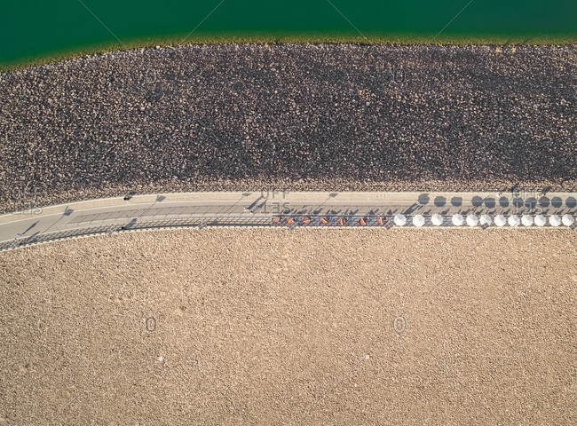 Abstract aerial view of Hatta lake point of view in Dubai, U.A.E.