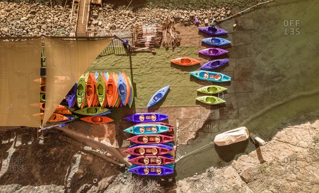 Aerial view of a Kayak rental in Hatta Lake in Dubai, U.A.E.