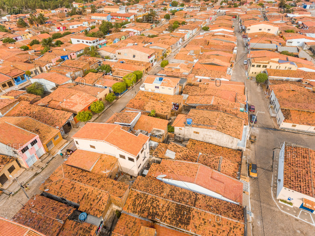 Aerial view of rooftops and small streets of Rio do Fogo town in Brazil.