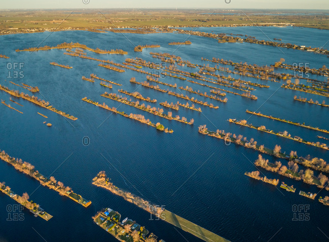 Aerial view of Vinkeveen Lakes in countryside of the Netherlands.