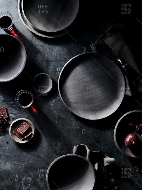 Top down view of hand made black table ware