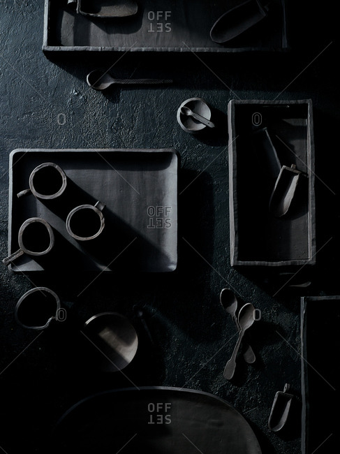 Looking down on handmade black ceramic tableware