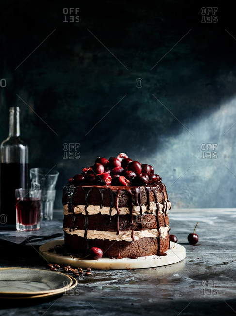 Wicked Mocha Black Forrest Cake heaped with cherries