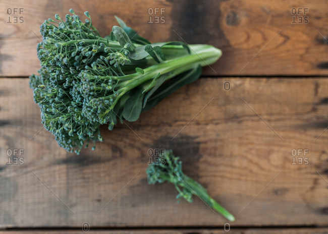 Top view of fresh picked broccoli floret on wood table